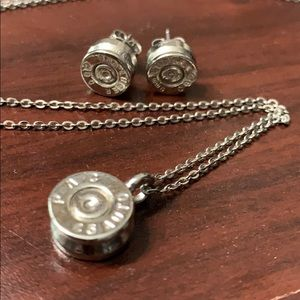 Bullet /shell casing  Earring/necklace set